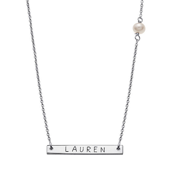 Personalized Sterling Silver Fresh Water Pearl Name Bar Necklace