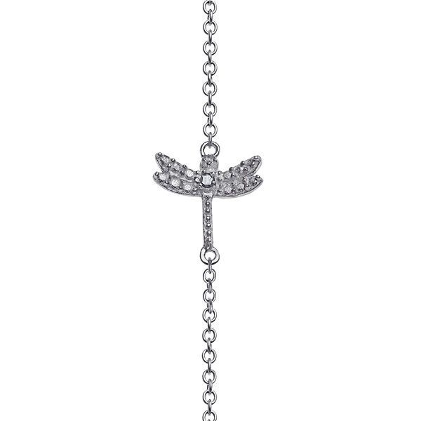 Personalized Sterling Silver Diamond-Accent Dragonfly Name Bar Necklace