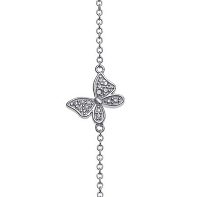 Personalized Sterling Silver Diamond-Accent Butterfly Name Bar Necklace