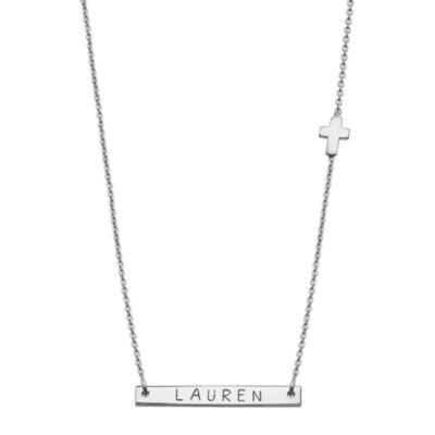 Personalized Sterling Silver Cross Charm Name Bar Necklace
