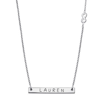 Personalized Sterling Silver Infinity Charm Name Bar Necklace