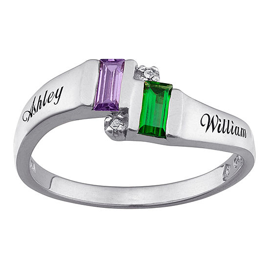 Personalized Diamond Accent Couples Name Birthstone Ring