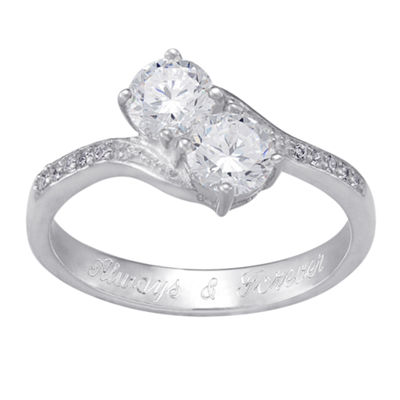 Personalized Sterling Silver Cubic Zirconia Two-Stone Engravable Engagement Ring