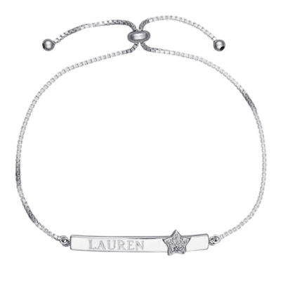 Personalized Sterling Silver Diamond-Accent Star Name Bar Adjustable Bracelet