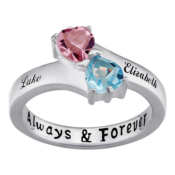 Fine Jewelry Personalized Diamond-Accent Couples Name Birthstone Crossover Ring MV84S