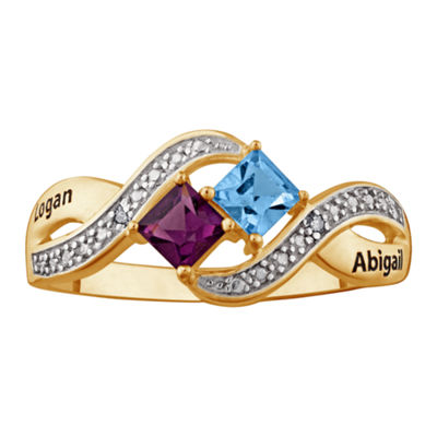 Personalized Diamond-Accent Couple's Name Birthstone Crossover Ring
