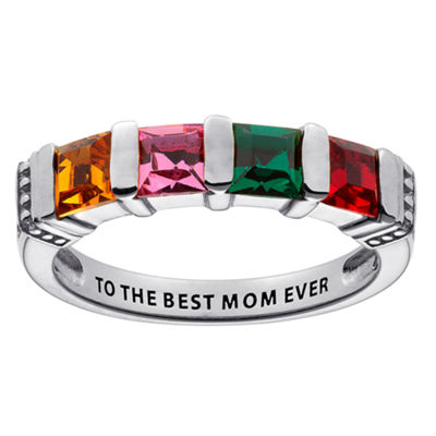 Personalized Engravable Four Birthstone Ring