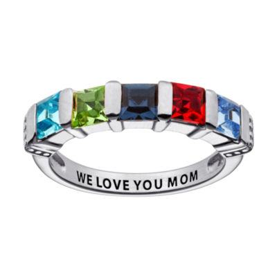 Personalized Engravable Five Birthstone Ring