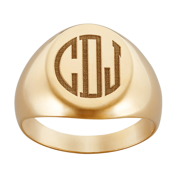 Personalized Mens Oval Monogram Ring