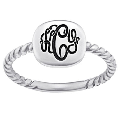 Personalized Sterling Silver Script Monogram Signet Ring