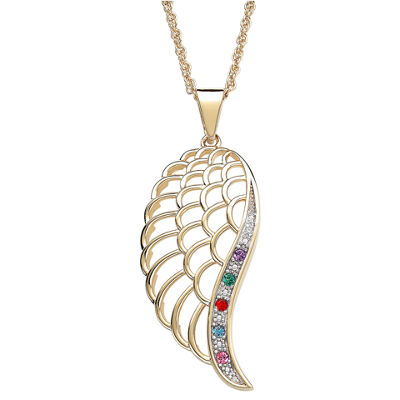 Personalized Family Birthstone Angel Wing Pendant Necklace