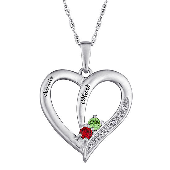 b56d198cf7 Personalized Diamond-Accent Couple's Name Birthstone Heart Pendant Necklace  - JCPenney