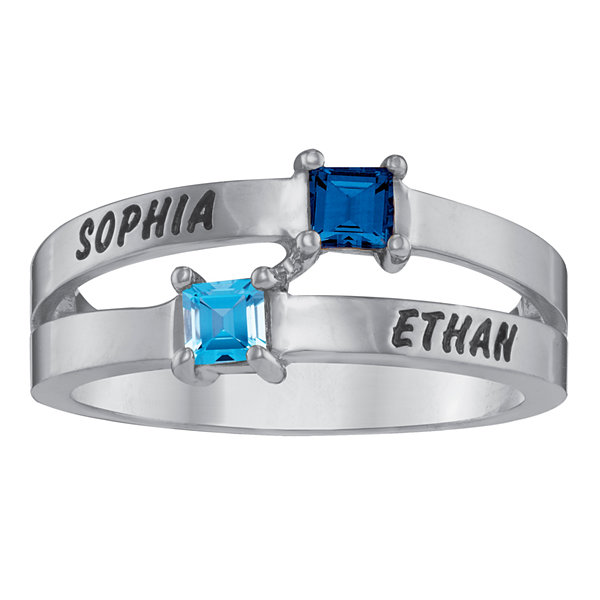 Personalized Engraved Split Shank Birthstone Ring