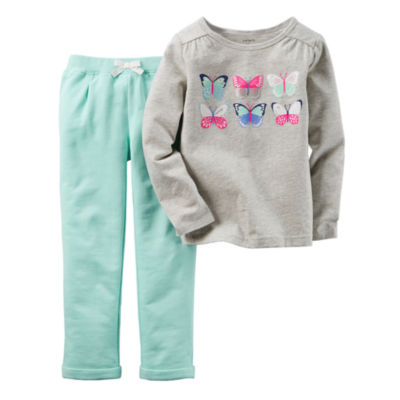 Carter's® 2-pc. Gray Butterfly Top and Pants Set - Baby Girls newborn-24m