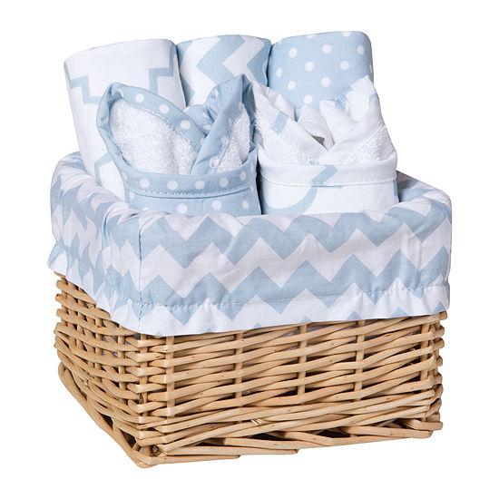 Trend Lab Sky 7 Pc Feeding Basket Gift Set Blue