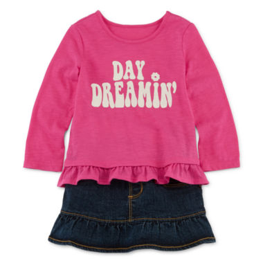 jcpenney.com | Arizona Long-Sleeve Graphic Top or First Denim Skort - Baby Girls 3m-24m
