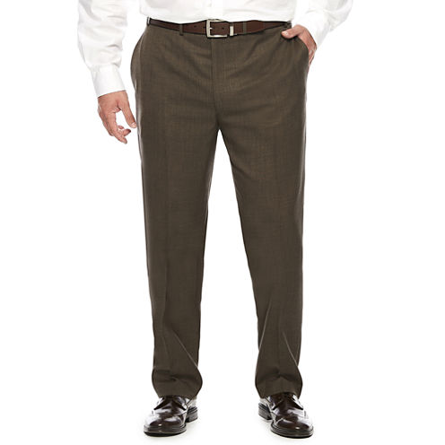 Collection by Michael Strahan Brown Sharkskin Flat-Front Dress Pants - Big & Tall