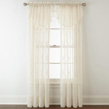 jcpenney.com | Liz Claiborne® Lisette Ogee Embroidery Sheer Rod-Pocket Window Treatments