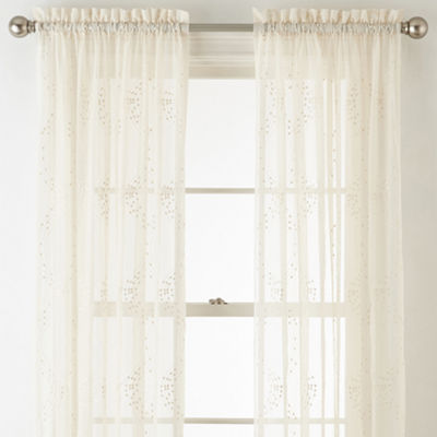 Home Expressions Lisette Embroidery Sheer Rod-Pocket Curtain Panel