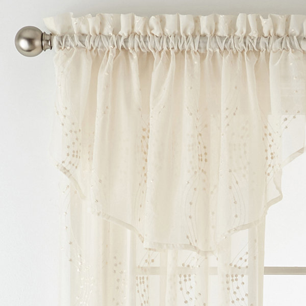 Liz Claiborne Lisette Ogee Embroidery Sheer Rod Pocket Curtain Panel