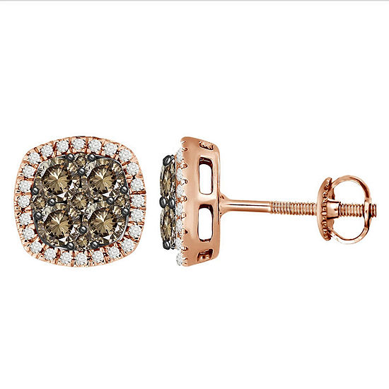 1 CT. T.W. Genuine Champagne Diamond 10K Gold Drop Earrings