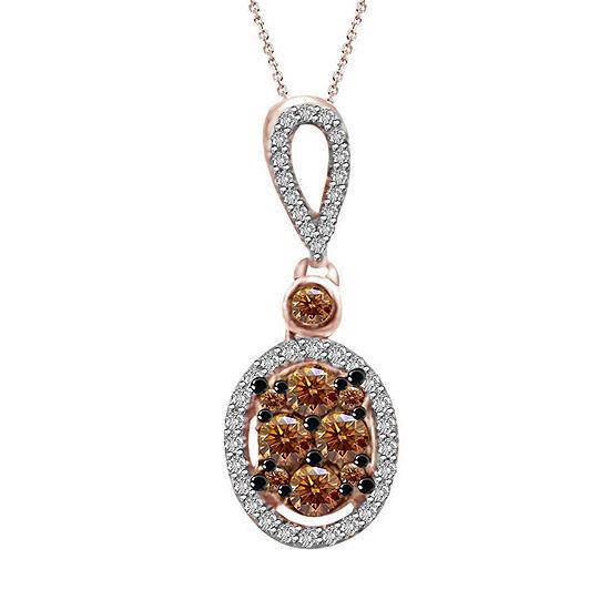 Womens 1/3 CT. T.W. Genuine Champagne Diamond 10K Gold Pendant Necklace