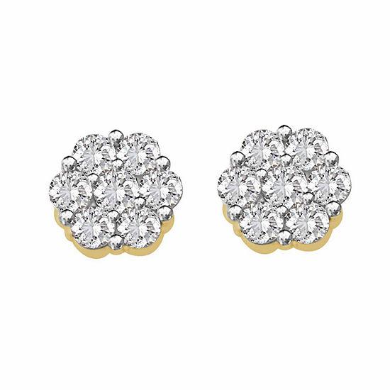 1/7 CT. T.W. Genuine White Diamond 10K Gold 4.2mm Stud Earrings