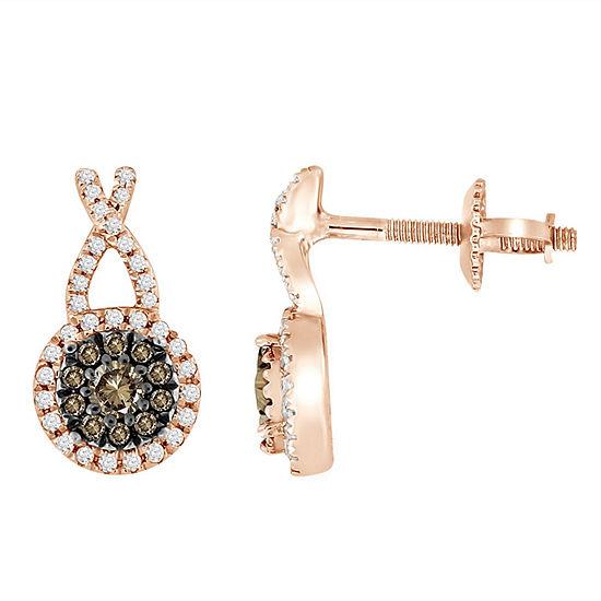 3/8 CT. T.W. Genuine Champagne Diamond 14K Gold 11.1mm Stud Earrings