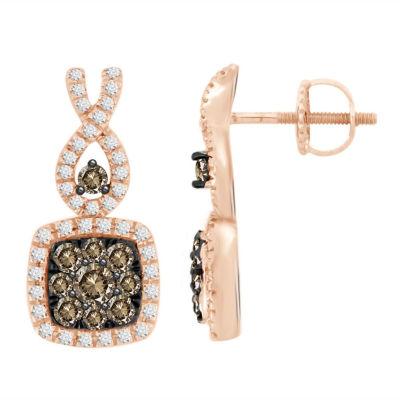 5/8 CT. T.W. Genuine Champagne Diamond 14K Gold 15.1mm Hoop Earrings
