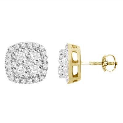 1/2 CT. T.W. GENUINE White Diamond 14K Gold 4.9mm Hoop Earrings