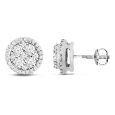 1 CT. T.W. Genuine White Diamond 14K Gold 8.1mm Stud Earrings