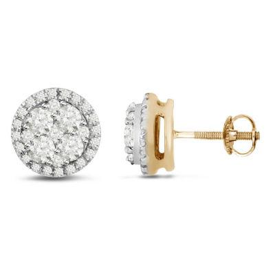 1/2 CT. T.W. Genuine White Diamond 14K Gold 5.2mm Hoop Earrings