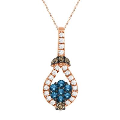 Womens 1/2 CT. T.W. Genuine Champagne Diamond 10K Gold Pendant Necklace