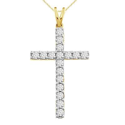 Womens 1 CT. T.W. Genuine White Diamond 10K Gold Cross Pendant Necklace