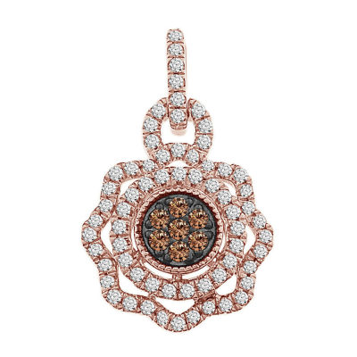 Womens 3/4 CT. T.W. White Diamond 10K Gold Pendant Necklace
