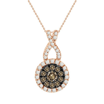 Womens 1/4 CT. T.W. Genuine Champagne Diamond 14K Gold Pendant Necklace