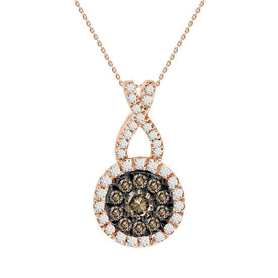 Womens 1/4 CT. T.W. Genuine Champagne Diamond 14K Gold Pendant Necklace