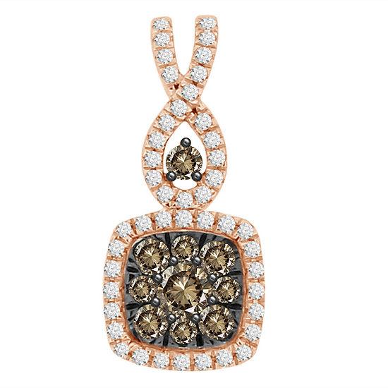 Womens 1/3 CT. T.W. Genuine Champagne Diamond 14K Gold Pendant Necklace