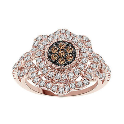 Womens 3/4 CT. T.W. Genuine White Diamond 10K Gold Cluster Ring