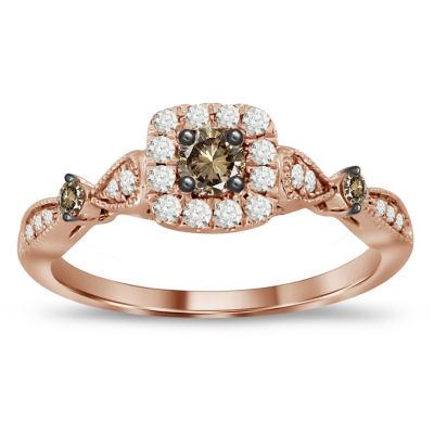 Womens 1/2 CT. T.W. Genuine White Diamond 10K Gold Halo Ring