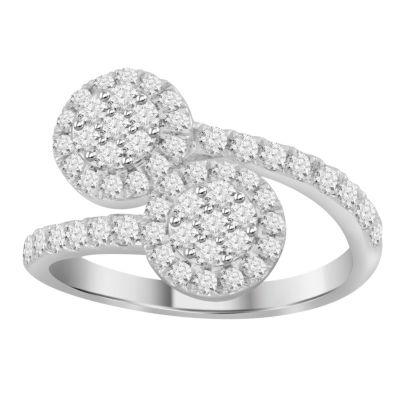 Womens 1 CT. T.W. Genuine White Diamond 10K Gold Bypass Ring