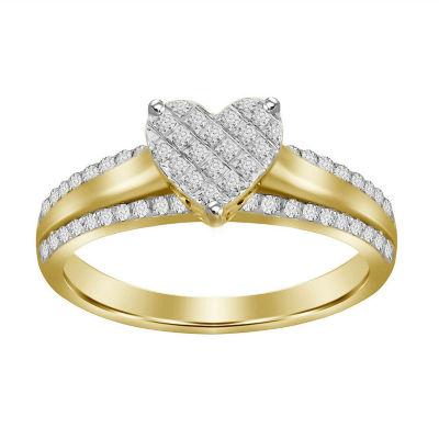 Womens 1/5 CT. T.W. Genuine White Diamond 10K Gold Delicate Ring