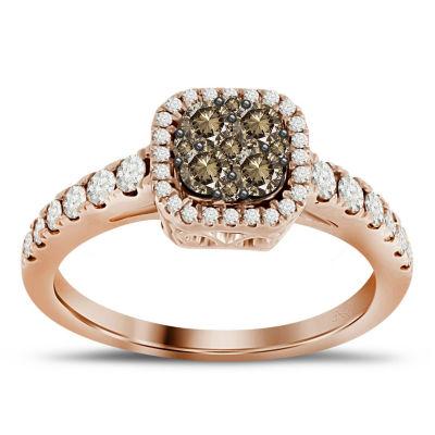 Womens 3/4 CT. T.W. White Diamond 14K Gold Halo Ring