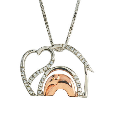 Womens 1/10 CT. T.W. White Diamond 10K Gold Sterling Silver Pendant Necklace