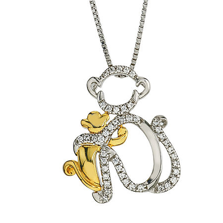 """Mother And Daughter"" Womens 1/8 CT. T.W. Genuine White Diamond 10K Gold Sterling Silver Pendant Necklace, One Size"