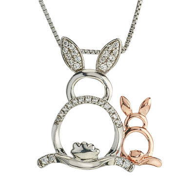 Womens 1/8 CT. T.W. White Diamond 10K Gold Sterling Silver Pendant Necklace