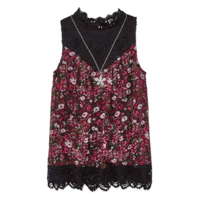 Knit Works High Neck Lace Tank Top with Necklace - Girls' 7-16