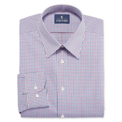 Stafford Travel Performance Super Long-Sleeve Woven Grid Dress Shirt