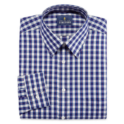 Stafford Stafford Travel Performance Super Shirt Long Sleeve Woven Checked Dress Shirt