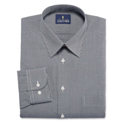 Stafford Stafford Travel Performance Super Shirt Long Sleeve Woven Gingham Dress Shirt